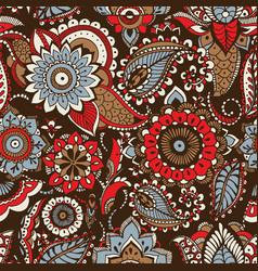 Ethnic paisley pattern with buta motifs and vector