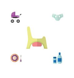 flat infant set of cream with lotion toilet vector image