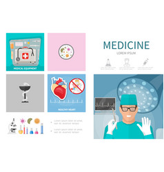 flat medicine infographic template vector image