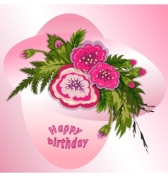 Floral composition bouquet pink flowers on vector