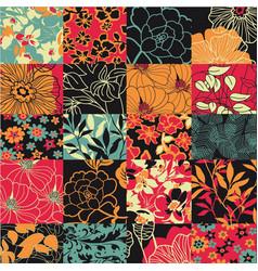 floral plant leaf squared patchwork wallpaper vector image