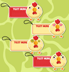 Four cute cartoon Chickens stickers vector