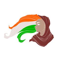 Girl in shawl with hair in the form of a flag of vector