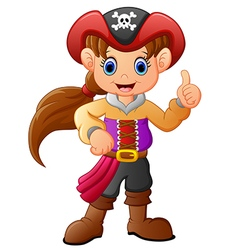 Girl pirate thumbs up vector