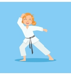 Girl With Ponytails In White Kimono On Karate vector