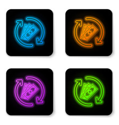 glowing neon refund money icon isolated on white vector image