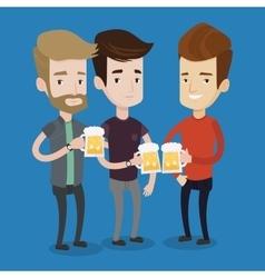 Group of friends enjoying beer at pub vector