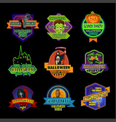 halloween holiday night label or ghost party badge vector image
