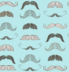 Hand Drawn Mustache Seamless Pattern vector image