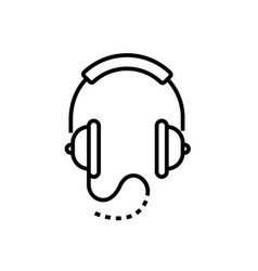 headphones - line design single isolated icon vector image