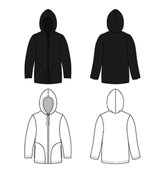 Hoodie black leather sweater vector