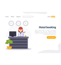 hotel booking landing page template online vector image