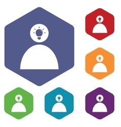 Idea icon hexagon set 2 vector