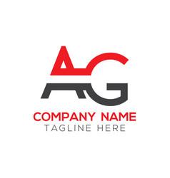 initial ag letter logo design modern business vector image