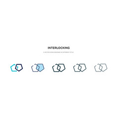 Interlocking icon in different style two colored vector