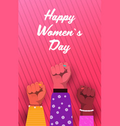 International womens day mix race raised fists vector