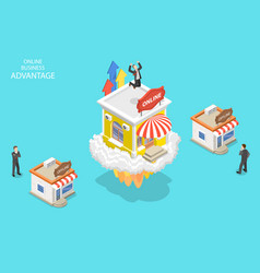 Isometric flat concept online business vector