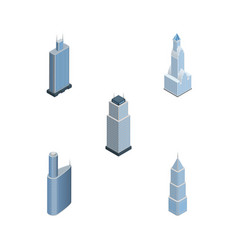 Isometric skyscraper set of business center vector