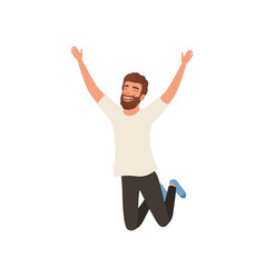 Joyful bearded man in jumping action with hands up vector