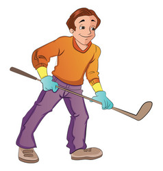 man playing hockey vector image