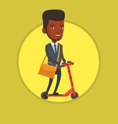 man riding kick scooter vector image
