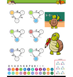 Maths subtraction educational game for kids vector