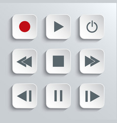 Media player control icon set vector
