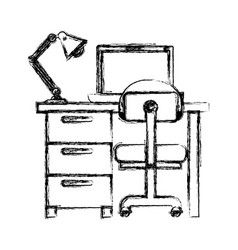 Monochrome blurred silhouette of desk home with vector