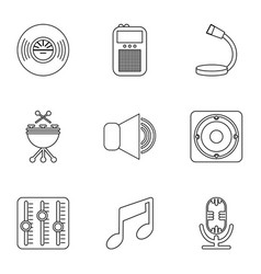 music player icons set outline style vector image