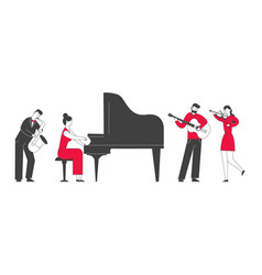 Musicians with instruments perform on stage vector