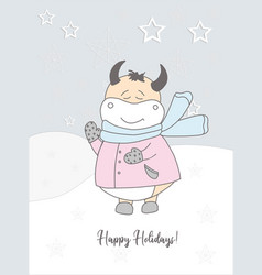 new years card 2021 cute ox in a scarf winter vector image