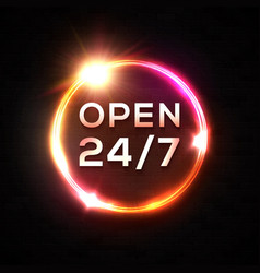 open 24 7 hours neon sign glowing circle frame vector image