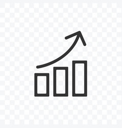 outline bar chart up trend icon isolated on vector image