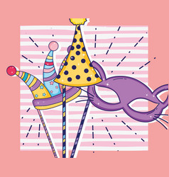 Party hats and cat mask costume decoration vector