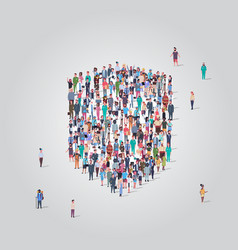 People crowd gathering in shield icon shape social vector
