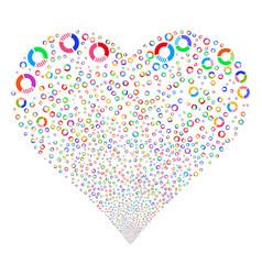 pie chart fireworks heart vector image