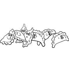 pierogi or dumplings coloring page vector image