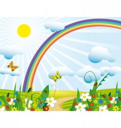 rainbow over the flowering meadows vector image vector image