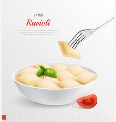 Ravioli realistic composition vector