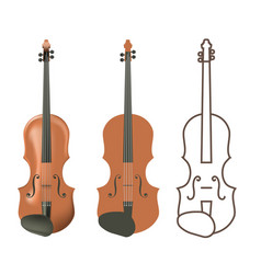 Realistic and flat wooden violin vector