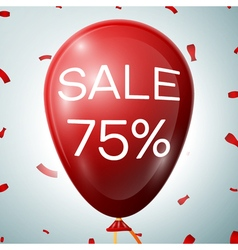 Red Baloon with 75 percent discounts SALE concept vector