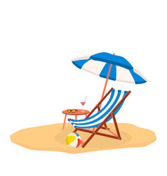 relaxing scene on a breezy day deck chair vector image