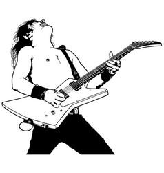 Rock guitarist plays solo vector