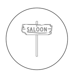 Saloon icon outline singe western icon from the vector