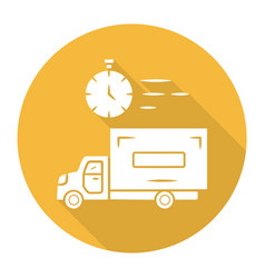 Same day delivery yellow flat design long shadow vector
