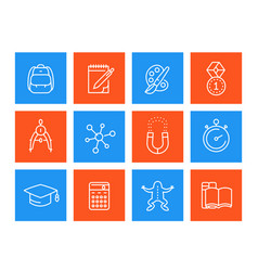 school education icons linear style vector image