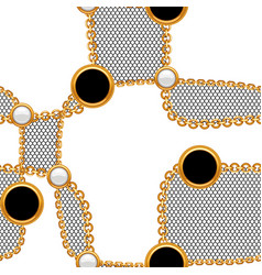 Seamless pattern with golden chains and lace vector