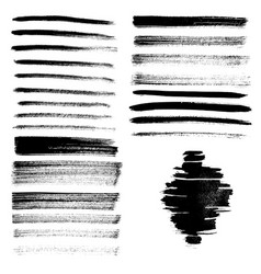 set different grunge brush strokes and stains vector image