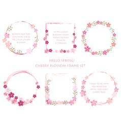 set of assorted cherry blossom frames vector image