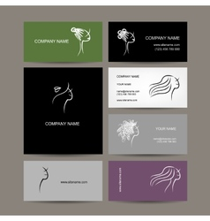 Set of business cards design female hairstyle vector image
